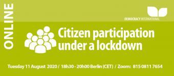 [Online] Citizen participation under a lockdown